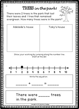 Fall Word Problems (Addition Word Problems)