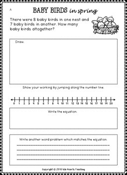 Spring Word Problems (Addition Word Problems - Differentiated)