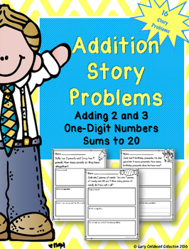 Addition Story Problems First Grade Word Problems