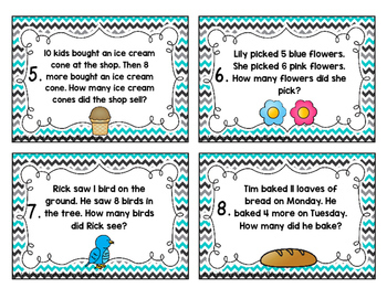 Addition Story Problems Task Cards: Addition to 20
