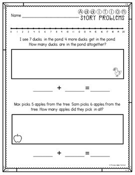 Addition Word Problems Within 20 with Number Line | 1st Grade Math