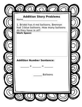 Addition Story Problems and Addition Review