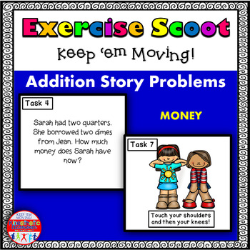 Addition Story Problems with Coins: Math Task Cards - Exercise Scoot!