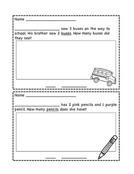 Addition Story Problems (within 10): Back to School Edition