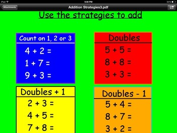 Addition Strategies Promethean Flipchart 1st Grade- Count on and Doubles