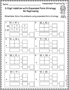 2 Digit Addition Strategies Worksheets - Expanded Form Method Volume 1