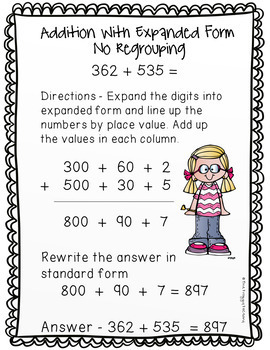 Addition Strategies Worksheets - 3 Digit Expanded Form Volume 1