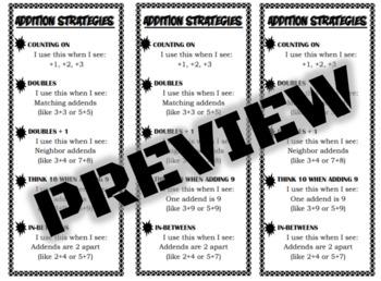 Addition Strategies Bookmark