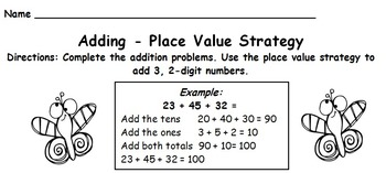 Addition Strategies-Compensation, Break Apart, Mental Math, Place Value