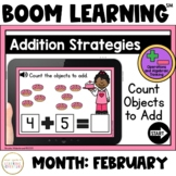 Addition Strategies: Count Objects to Add Boom Cards™: February