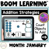 Addition Strategies: Count Objects to Add Boom Cards™: January