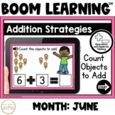 Addition Strategies: Count Objects to Add Boom Cards™: June