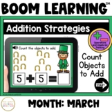 Addition Strategies: Count Objects to Add Boom Cards™: March