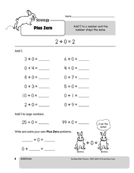 Addition Strategies, Grade 1: Plus Zero