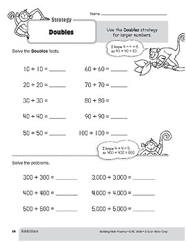 Addition Strategies, Grade 3: Doubles