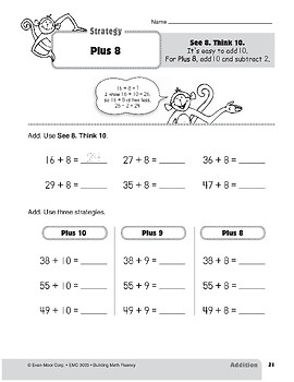 Addition Strategies, Grade 3: Plus 8