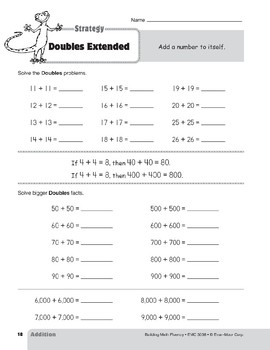 Addition Strategies, Grades 4-6+: Doubles Extended
