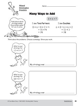 Addition Strategies, Grades 4-6+: Mixed Strategies Practice