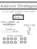 Addition Strategies Journal Page