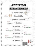 Addition Strategies Poster or Reference in a Student Math Folder