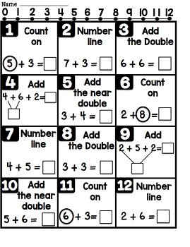 Addition Strategies Practice Page