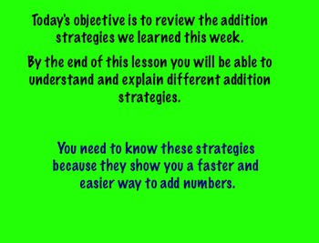 Addition Strategies Review Day 4 SmartBoard Slideshow