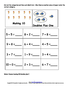 Math Strategies Sort:  Addition - Making 10, Doubles, Doubles Plus 1,  Adding 2