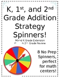 K, 1st, and 2nd No Prep Addition Strategies Spinners!