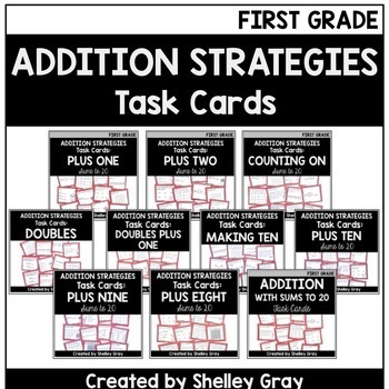 Addition Strategies Task Cards: First Grade Bundle (Sums to 20)