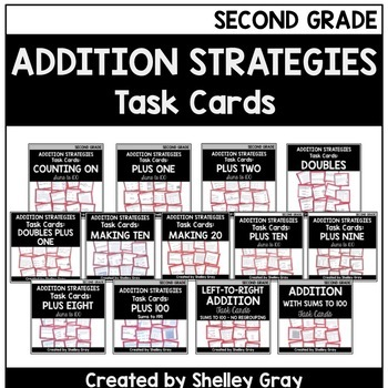 Addition Strategies Task Cards: Second Grade Bundle (Sums to 100)