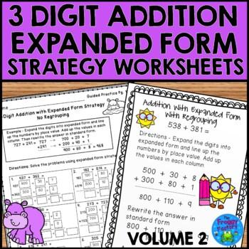 Addition Strategy Worksheets - 3 Digit Addition Volume 2