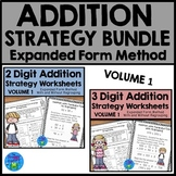 Addition Strategies Worksheets - Expanded Form Method Bundle