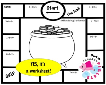 Addition Strategies Worksheets March Themed Follow the PATH Set