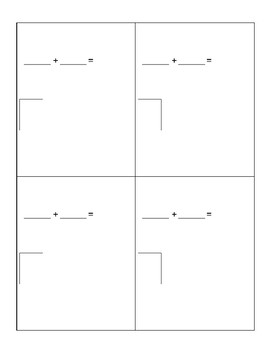 Addition Strategy Cards- Blank