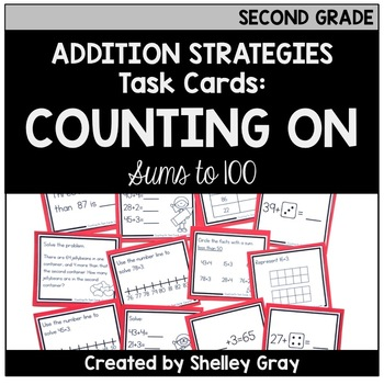 Addition Strategy Task Cards: Counting On (Sums to 100) SECOND GRADE