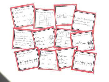 Addition Strategy Task Cards: Doubles Plus One Facts (Sums to 25)