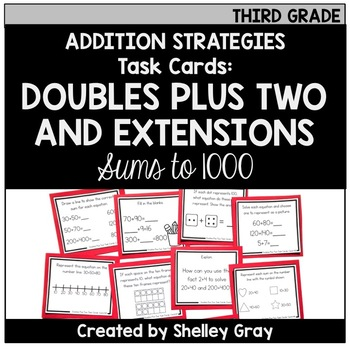 Addition Strategy Task Cards: Doubles Plus Two and Extensions (Third Grade)