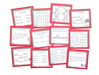 Addition Strategy Task Cards: Plus 100 and Multiples of 100 (Fourth)