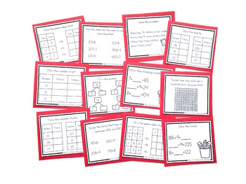 Addition Strategy Task Cards: Plus 7, 8, and 9 - Sums to 1000 (Third Grade)