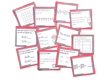 Addition Strategy Task Cards: The Doubles (Sums to 24)