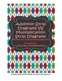 Addition Strip Diagram VS Multiplication Strip Diagram Interactive Notebook