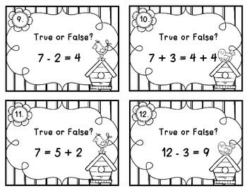 Addition & Subtraction Equations {True or False?}