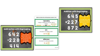 Addition & Subtracting with Regrouping Posters & Vocabulary