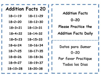 Addition & Subtraction 0-20  Facts Cards