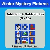 Addition & Subtraction 0-20 - Math Mystery Pictures - Winter