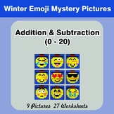 Addition & Subtraction 0-20 - Math Mystery Pictures - Winter Emoji