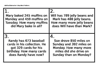 Addition/Subtraction 1-Step Word Problems Task Cards