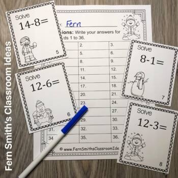 Winter Basic Addition and Subtraction Facts Task Cards and Recording Sheets