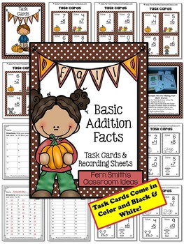 Fall Addition and Subtraction Basic Facts Task Cards