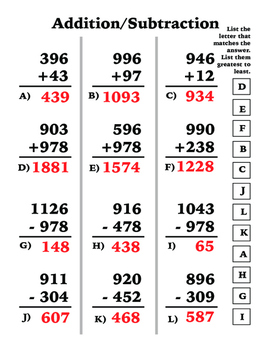 Addition & Subtraction (3/4 digit by 3/2 digit)